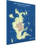 "San Francisco Archipelago, 200' sea level rise 32"" Gallery Wrapped Canvas"