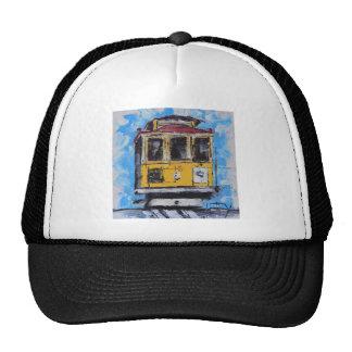 San Francisco Art, Cable Car Painting, California Trucker Hat