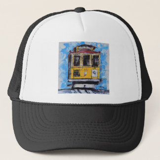 San Francisco Art, Cable Car Painting, California Trucker Hat