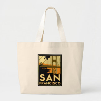 San Francisco Art Deco Travel Poster Jumbo Tote Bag