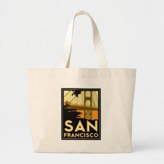 San Francisco Art Deco Travel Poster Large Tote Bag