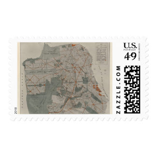 San Francisco Atlas Map showing public places Postage Stamps