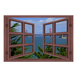 San Francisco Bay 6 Pane Open Window Poster