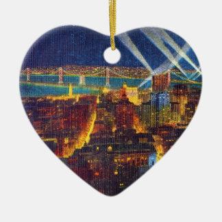 San Francisco Bay Bridge & Lights of US Fleet Ceramic Ornament