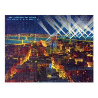 San Francisco Bay Bridge & Lights of US Fleet Postcard