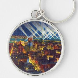 San Francisco Bay Bridge & Lights of US Fleet Silver-Colored Round Keychain