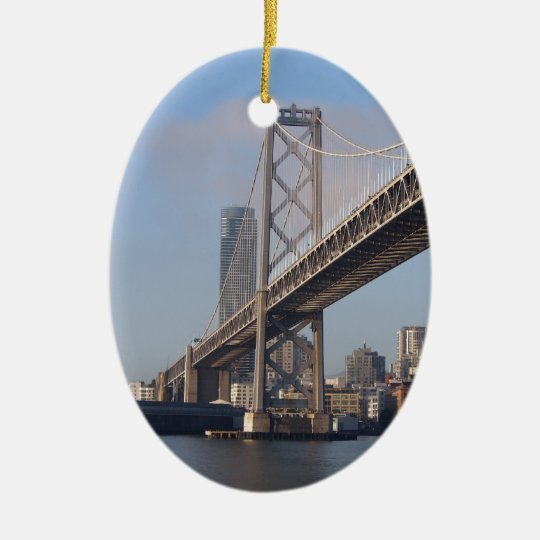 San Francisco bay bridge on a sunny morning Ceramic Ornament