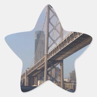 San Francisco bay bridge on a sunny morning Star Sticker