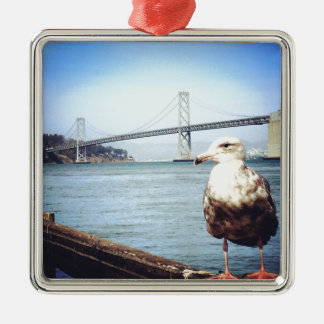 San Francisco Bay Bridge Seagull Metal Ornament