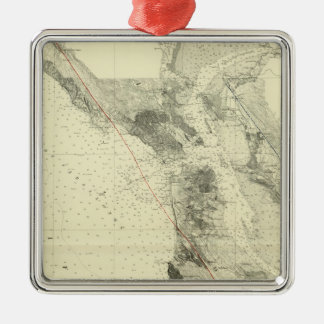 San Francisco Bay showing San Andreas Rift Metal Ornament