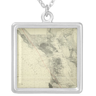 San Francisco Bay showing San Andreas Rift Square Pendant Necklace