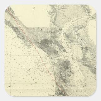 San Francisco Bay showing San Andreas Rift Square Sticker