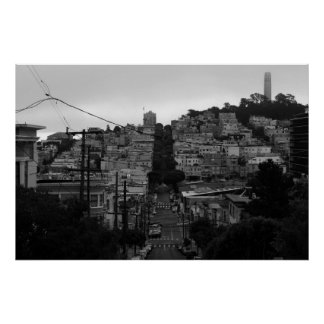 San Francisco Black & White Lombard/Coit Tower Poster