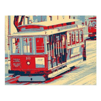 San Francisco blue red Postcard