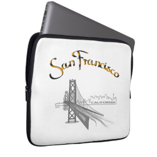 San Francisco Bridge Gold Black Graphic Laptop Sleeve