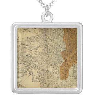 San Francisco burnt area, 1906 Square Pendant Necklace