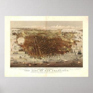 San Francisco CA 1878 Antique Panoramic Map Poster