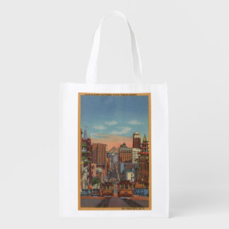 San Francisco, CA - Cable Cars going up Grocery Bag