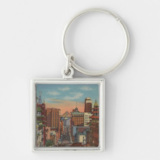 San Francisco, CA - Cable Cars going up Keychain
