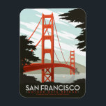 """San Francisco, CA - Golden Gate Bridge Magnet<br><div class=""""desc"""">Anderson Design Group is an award-winning illustration and design firm in Nashville,  Tennessee. Founder Joel Anderson directs a team of talented artists to create original poster art that looks like classic vintage advertising prints from the 1920s to the 1960s.</div>"""