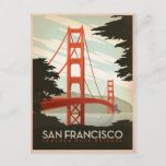 """San Francisco, CA - Golden Gate Bridge Postcard<br><div class=""""desc"""">Anderson Design Group is an award-winning illustration and design firm in Nashville,  Tennessee. Founder Joel Anderson directs a team of talented artists to create original poster art that looks like classic vintage advertising prints from the 1920s to the 1960s.</div>"""