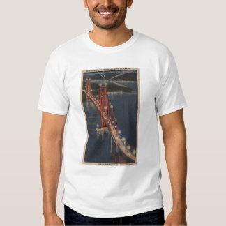 San Francisco, CA - Night View of Golden Gate Tee Shirt