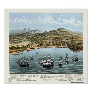 San Francisco, CA Panoramic Map - 1847 Poster