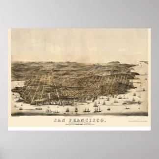 San Francisco, CA Panoramic Map - 1864   Poster