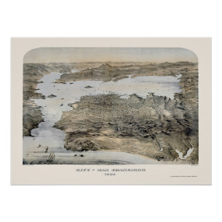 San Francisco, CA Panoramic Map - 1868 Posters
