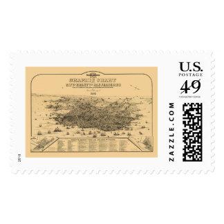 San Francisco, CA Panoramic Map - 1875 Stamp