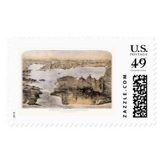 San Francisco, CA Panoramic Map - 1876 Postage Stamp