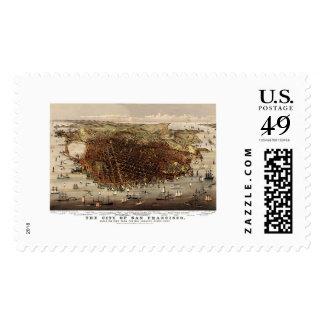 San Francisco, CA Panoramic Map - 1878 Postage Stamp