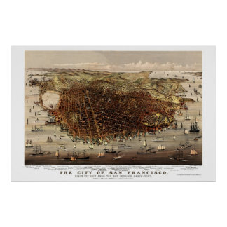 San Francisco, CA Panoramic Map - 1878 Poster