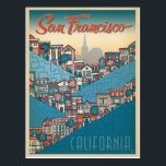 "San Francisco, CA Postcard<br><div class=""desc"">Anderson Design Group is an award-winning illustration and design firm in Nashville,  Tennessee. Founder Joel Anderson directs a team of talented artists to create original poster art that looks like classic vintage advertising prints from the 1920s to the 1960s.</div>"
