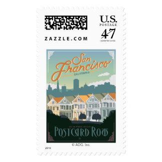 San Francisco, CA - Postcard Row Stamp