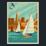 "San Francisco, CA - Sailboats Postcard<br><div class=""desc"">Anderson Design Group is an award-winning illustration and design firm in Nashville,  Tennessee. Founder Joel Anderson directs a team of talented artists to create original poster art that looks like classic vintage advertising prints from the 1920s to the 1960s.</div>"