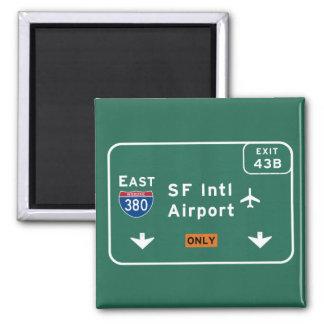 San Francisco CA SFO Airport I-380 E Interstate - 2 Inch Square Magnet