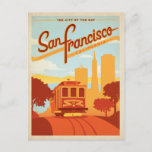 """San Francisco, CA - The City by the Bay Postcard<br><div class=""""desc"""">Anderson Design Group is an award-winning illustration and design firm in Nashville,  Tennessee. Founder Joel Anderson directs a team of talented artists to create original poster art that looks like classic vintage advertising prints from the 1920s to the 1960s.</div>"""