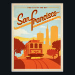 "San Francisco, CA - The City by the Bay Postcard<br><div class=""desc"">Anderson Design Group is an award-winning illustration and design firm in Nashville,  Tennessee. Founder Joel Anderson directs a team of talented artists to create original poster art that looks like classic vintage advertising prints from the 1920s to the 1960s.</div>"