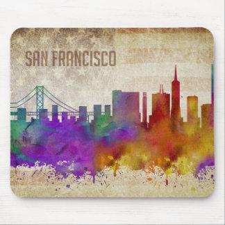 San Francisco, CA | Watercolor City Skyline Mouse Pad