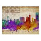 San Francisco, CA | Watercolor City Skyline Postcard