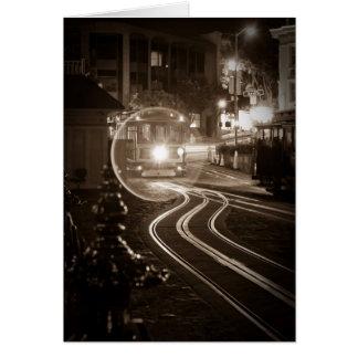 San Francisco Cable Car at Night Greeting Card