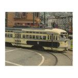 San Francisco Cable Car City Scene Photography Wood Print