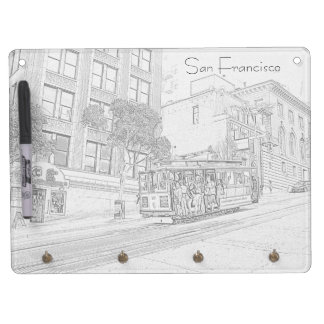 San Francisco Cable Car Dry Erase Board With Keychain Holder