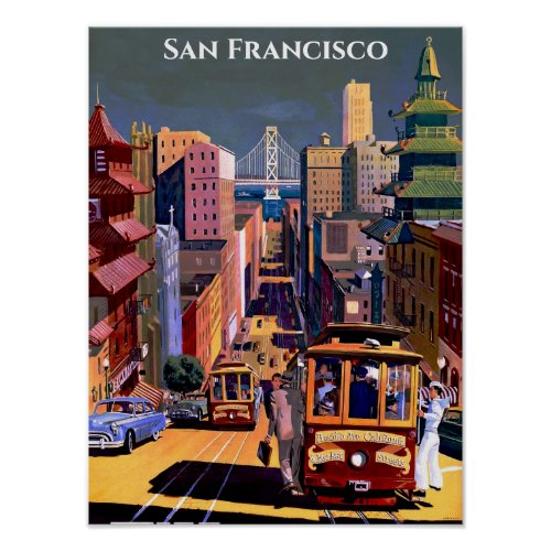 San Francisco Cable Car Retro Vintage Travel