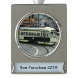 San Francisco Cable Car Silver Plated Banner Ornament