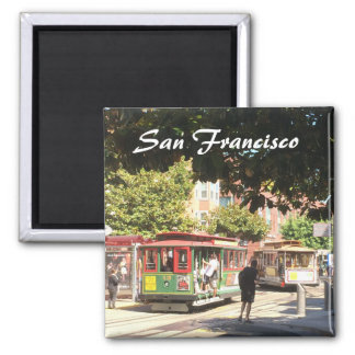 San Francisco Cable Cars 2 Inch Square Magnet