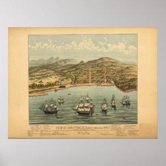 San Francisco Cal. 1847 Antique Panoramic Map Poster