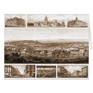 San Francisco California 1874, panoramas, building Card