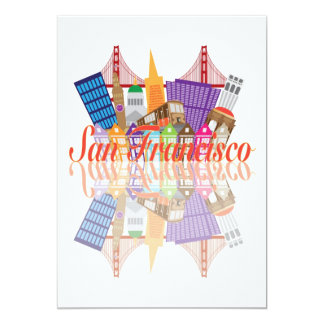 San Francisco California Abstract City Skyline Card